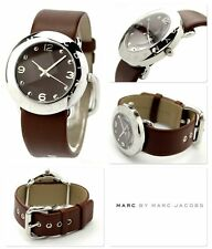 Marc Jacobs Womens Watch Roller Silver Steel AMY Brown Leather  MBM1139