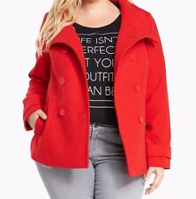 Torrid Double Breasted Peacoat Silky Bow Lining Coat Red 2X 18 20 2 #4325