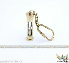 NAUTICAL VINTAGE SHIP BRASS HOUR GLASS SAND TIMER SAND STORM KEY CHAIN KEY RING
