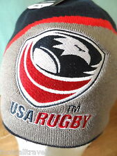 USA RUGBY BLK OFFICIAL GREY / NAVY BEANIE HAT Casquette Hut Mens OSFM