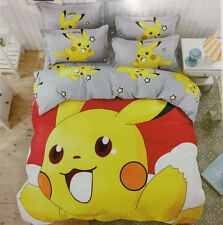 Pokemon Happy Pikachu Bedding Set Duvet Cover Set Pillowcase Christmas Gifts#