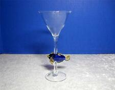 Yurana Hand Blown Glass Fish on Martini Glass - Royal Blue and Yellow