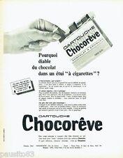 PUBLICITE ADVERTISING 116  1966  Chocoreve  chocolat en cartouche étui cigarette