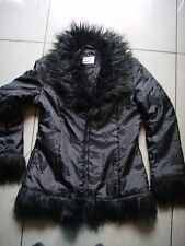 BLACK JACKET WITH FAUX FUR SIZE 12 GOOD CONDITION