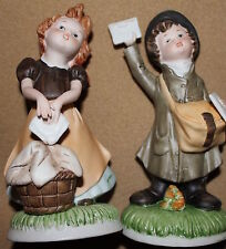 Laundry Girl, Mail Boy Porcelain Pair Home Interiors HOMCO 1435AA NOS