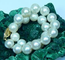 RARE GENUINE WHITE SOUTH SEA SALTWATER PEARL BRACELET 14K GOLD CLASP