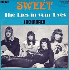 """7"""" Sweet – The Lies In Your Eyes / Cockroach // French 1975"""