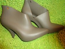 """Melissa """"Drama"""" Army Green, Rubber, Ankle Bootie Heels, Size 7.5 US, 38 EU (?)"""