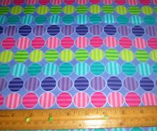 1 yard of PURPLE TURQUOISE PINK LIME STRIPED DOTS on LILAC 100% Cotton Fabric