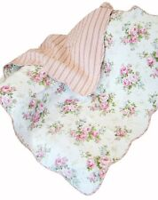 SPRING ROSE QUILTED THROW : COTTAGE PINK ROSES FLORAL WHITE LAP BLANKET