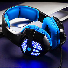 Gaming Computer Blue Headset LED Headphones with Mic 3.5mm Plug for PC Laptop