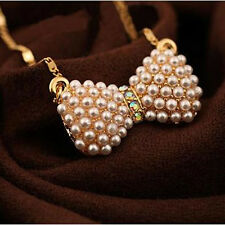 Women's Fashion Double Pearl Bow Pendant Necklace Statement Elegant Jewelry