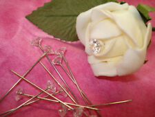 Popular 100pcs Diamante Pins Clear Wedding Buttonholes Bouquet Florist Flower JX