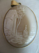 ANTIQUE CAMEO PENDANT VICTORIAN LADY WALKING by HOUSE in GOLD FRAME