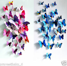 12 magnetic 3D PVC Butterflies DIY Butterfly Art Decal Home Decor Wall Stickers
