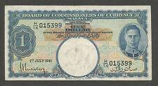 Malaya 1 Dollar 1941; VF+; P-11, L-B112a; King George VI, Lion head wmk, WWII
