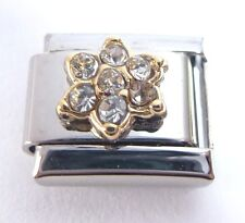 CLEAR FLOWER GEM Italian Charm - April Birthstone Crystal - 9mm Classic Size