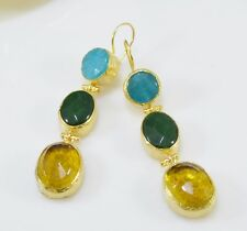 Ottoman Gems semi precious gem stone gold plated earring Jade Crystal quartz