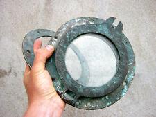 Antico NAUTICO Navi oblò con vetro originale e piastra