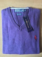 Mens Polo Ralph Lauren Cotton Sweater Jumper V-Neck Long Sleeve Size-L RRP £98