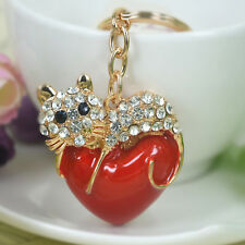 T Red Heart Cute Cat Keyring Rhinestone Crystal Charm Pendant Key Bag Chain Gift
