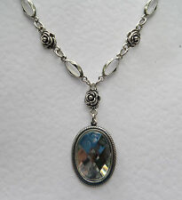 VICTORIAN STYLE CLEAR ACRYLIC CRYSTAL DARK SILVER PL ROSE PENDANT NECKLACE RS