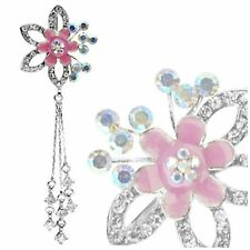 Top Down Fancy Flower Cz Chain Dangle Belly Button Bar Reverse Navel Naval Ring