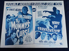 HOUSE OF FRANKENSTEIN/THE MUMMY'S CURSE 1945 * KARLOFF * CHANEY * 22x28 COMBO!!