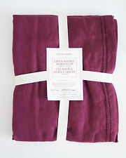 Williams Sonoma Double Hemstitched Linen Tablecloth 70 X 90 Red Wine NWT