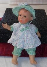 "GI-GO ""FUNNY-LOOKING GIRL DOLL"" W/GREEN DRESS & CAP, 9.5  PLUSH & PLASTIC, GOOD"