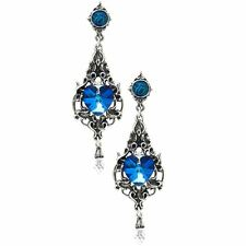 Official Alchemy Gothic Empress Eugenie Drop Earrings - Blue Heart Jewellery