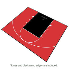 30ft x 25ft Outdoor Basketball Half Court Kit-Lines and Edges Included-Red/Black