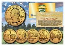 2011 24K Gold National Parks America the Beautiful Coins *Set of all 5 Quarters*