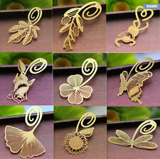 2Pcs 2016 Label Creative Reading Metal Clip Bookmark Book Magazine Mark Gold