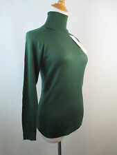 A31 *NEW W TAG* GREEN PERLITA KNIT 100% SILK WOMENS RIBBED TURTLE NECK SWEATER S