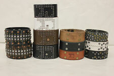 NWOT *LOT OF 60* JOE'S JEANS LEATHER STUDDED CUFF BRACELETS-BLK,WHT,BRN,TAN,GRN