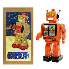 """TIN TOY ELECTRON ROBOT 12"""" Orange with Gold Doors ME100 Battery Operated NEW"""