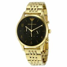 Emporio Armani Mens Chronograph Watch Gold PVD Plated Bracelet Black Dial AR1893