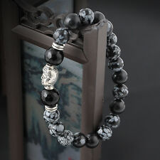 Newest Tibet Silver Buddha Natural White spot stone 8mm beads Man lucky bracelet