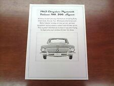 1963 Plymouth Valiant factory cost/dealer sticker pricing for car + options
