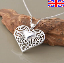 Ladies 925 Silver Heart Necklace Filigree Chain Link Pendant Free Gift Bag