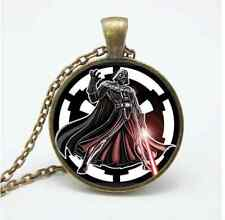 Vintage Star Wars Black Warrior Cabochon Glass Bronze Chain Pendant Necklace