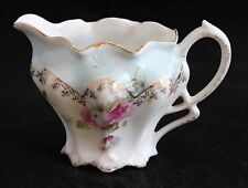 ANTIQUE RS PRUSSIA GERMANY DELICATE PORCELAIN CREAMER with pink roses blue board