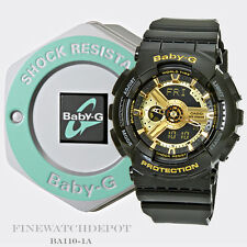 Authentic Casio Baby-G Women's XL Black & Gold Digital Watch BA110-1A