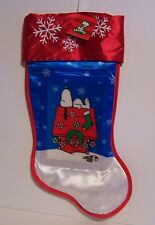Snoopy 3D Christmas Stocking Embroidered Satin Snowflakes Wreath Peanuts NWT