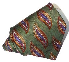 Burberry Mens multi-color textured Paisley Silk Tie,hand sewn,Equestrian Knight