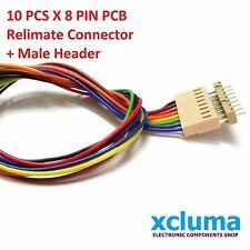 10PCS X 8 PIN POLARIZED WIRED RELIMATE CONNECTOR W MALE PIN 2.54 mm PITCH BE0064