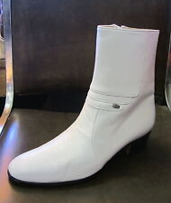 """Men Genuine Leather WHITE Casual Dress Ankle BOOTS Zipper 1.75""""Heel, Size 9 US"""