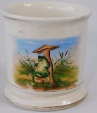 Atq Victorian Occupational Frog on Toad Stool Smoking Pipe Shaving Cream Mug