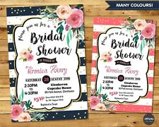 FLORAL BRIDAL SHOWER PARTY INVITATION INVITE PERSONALISED BRIDE FLOWER GOLD